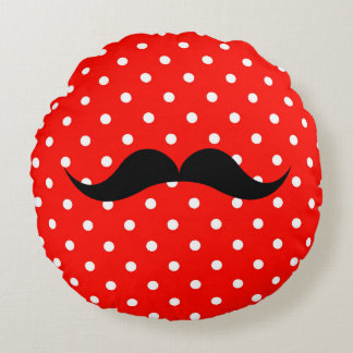 Mustache polka dot fashion glamour chic red round pillow