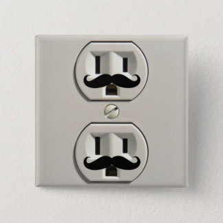 Mustache power outlet 2 inch square button