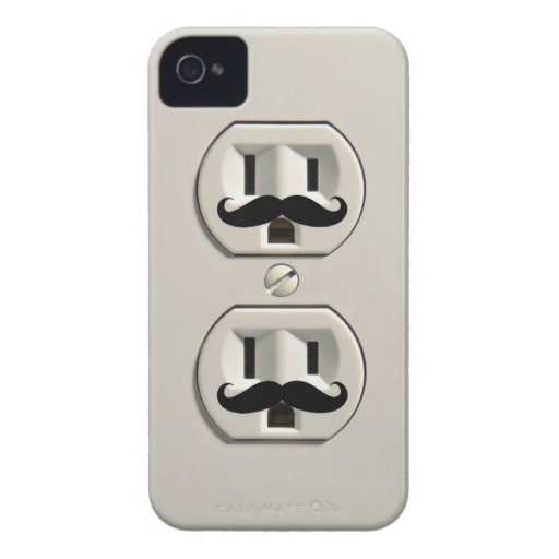 Mustache power outlet iPhone 4 Case-Mate case