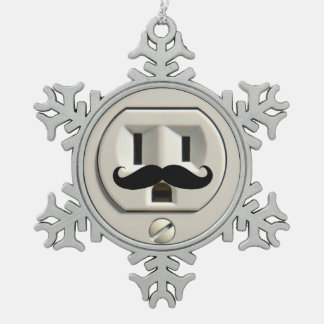 Mustache power outlet pewter snowflake ornament