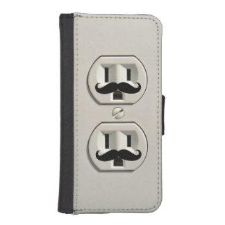 Mustache power outlet phone wallet case