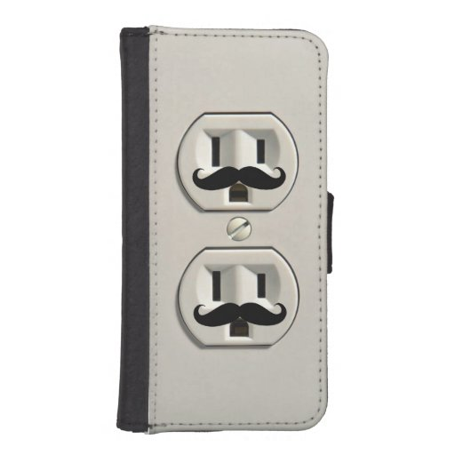 Mustache power outlet iPhone 5 wallet case