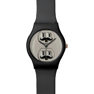 Mustache power outlet wristwatch