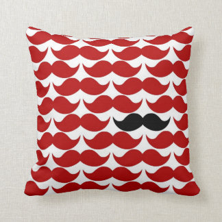 Mustache Red Retro Funky Pattern Throw Pillow