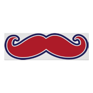 Mustache - Red, White and Blue Poster