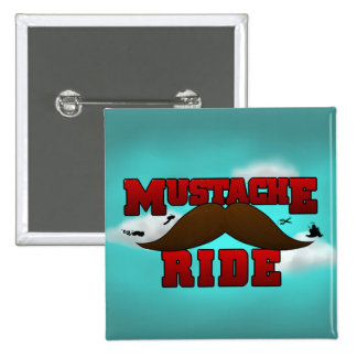 Mustache Ride 2 Inch Square Button