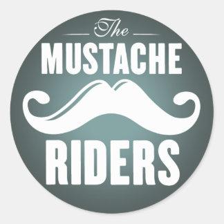 Mustache Riders Stickers- Round 3 inch Round Sticker