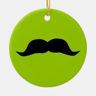 Mustache Round Ceramic Ornament