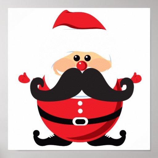 Mustache Santa Claus Poster