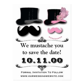 Mustache Save The Date Card