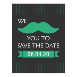 Mustache Save the Date Postcard