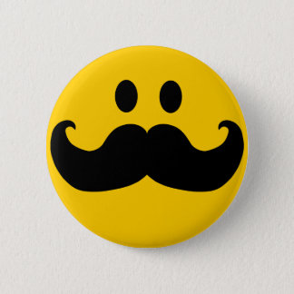 Mustache Smiley 2 Inch Round Button