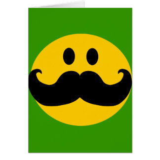Mustache Smiley (Customizable background color) Greeting Card