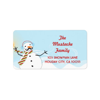 Mustache Snowman Christmas Holiday Address Labels