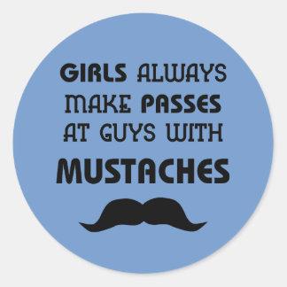 Mustache Round Sticker