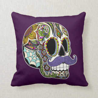 Mustache Sugar Skull Pillow - Color Customizable
