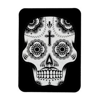 Mustache sugar skull rectangular photo magnet