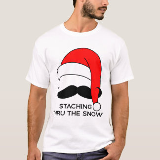 Mustache T-shirt - Staching thru the snow