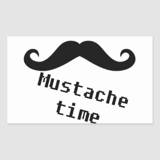 mustache time rectangle stickers