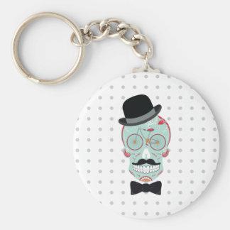 Mustache Top Hat Bicycle Sugar Skull keychain. Keychain
