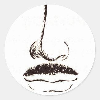 Mustache Vintage Surrealist Round Sticker