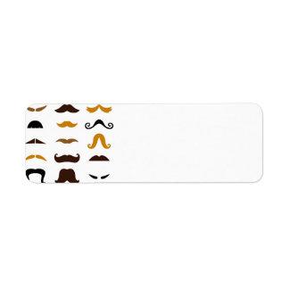 Mustaches creative design Set : Cards Return Address Label