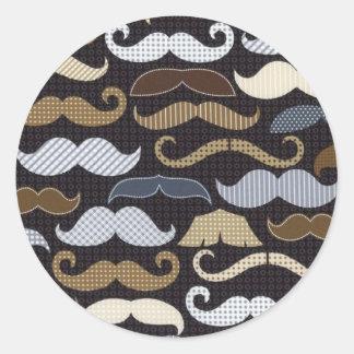 Mustaches & More Mustaches Round Sticker