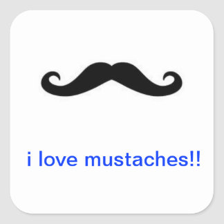 mustaches square sticker