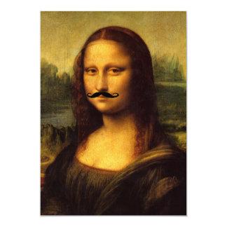"Mustachioed Mona Lisa 5"" X 7"" Invitation Card"