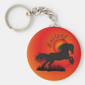 Mustang for horse lover key supporter basic round button keychain