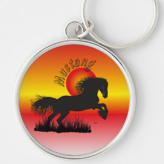 Mustang for horse lover key supporter Silver-Colored round keychain