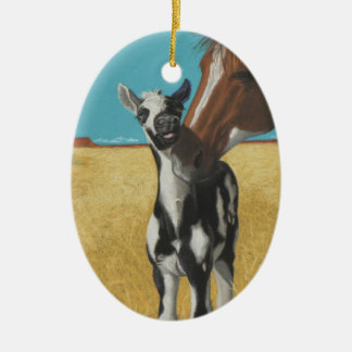 Mustang, horse ceramic oval ornament