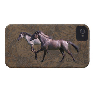 Mustang Horses Tooled Leather-look iPhone 4 Case