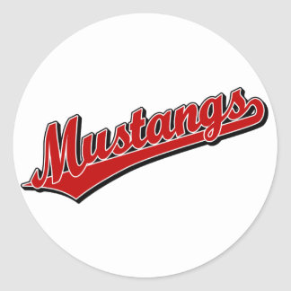 Mustangs in Red Classic Round Sticker