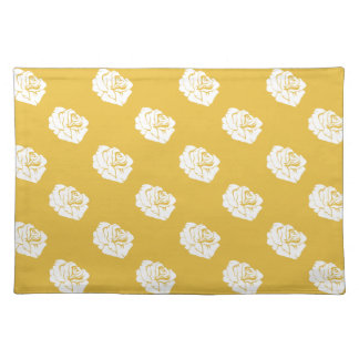 Mustard and White Rose Print Placemat