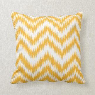Mustard Chevron Ikat Pattern Pillow
