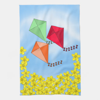 Mustard Flowers and Kites and Clouds Kitchen Towel
