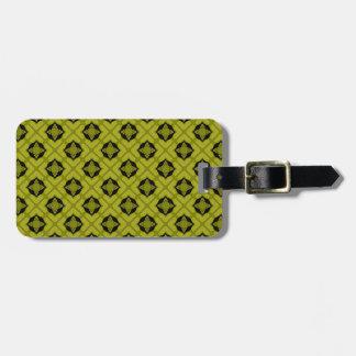 Mustard Green And Black Geometric Pattern Luggage Tag
