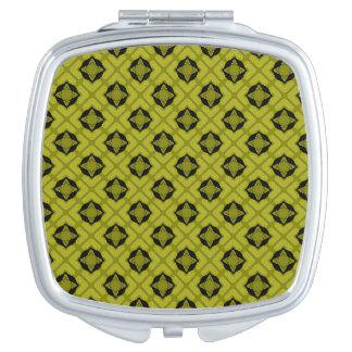 Mustard Green And Black Geometric Pattern Makeup Mirrors