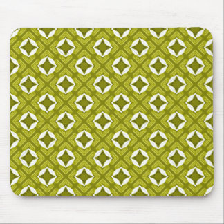 Mustard Green And White Geometric Pattern Mouse Pad