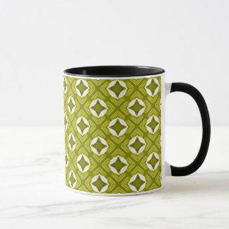 Mustard Green And White Geometric Pattern Mug