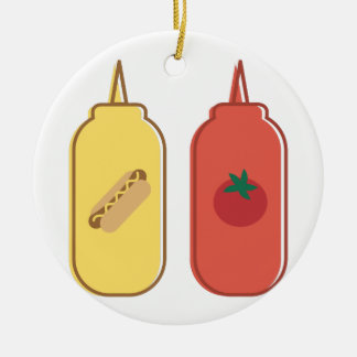 Mustard & Ketchup Round Ceramic Ornament