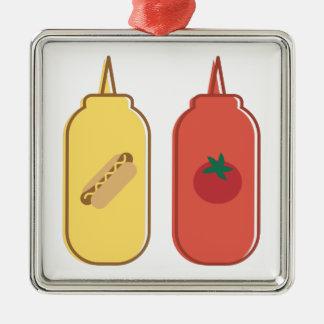 Mustard & Ketchup Silver-Colored Square Ornament