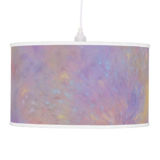 Mustard Lavender Teal Floral Abstract Pendant Lamp