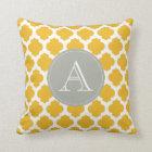 Mustard & White Moroccan Pattern Grey Monogram Throw Pillow