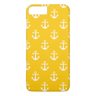 Mustard Yellow and White Nautical Anchor Pattern iPhone 7 Plus Case