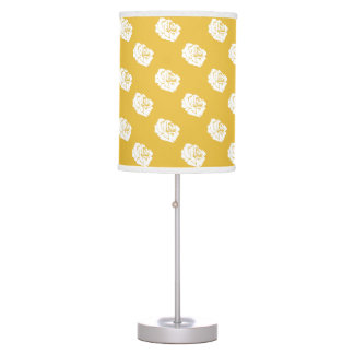 Mustard Yellow and White Rose Print Lamp