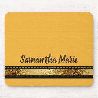 Mustard Yellow Black Gold Personalized Mousepad