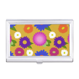 Mustard Yellow Flowers Floral Pattern Feminine Business Card Holder