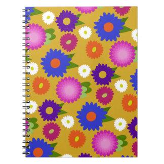 Mustard Yellow Flowers Floral Pattern Feminine Notebook